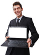 a happy Businessman with a laptop