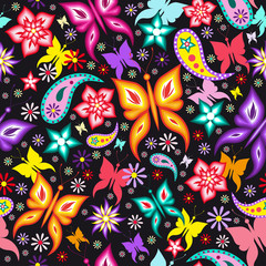 Floral seamless pattern with colorful butterflies