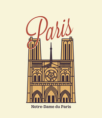 Paris text with Notre Dame illustration
