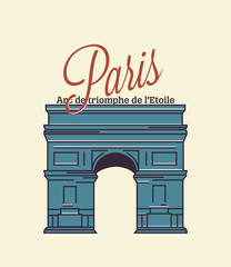 Paris text with arc de triomphe illustration