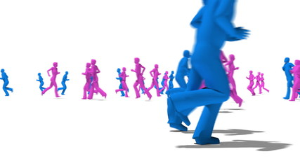 Anonymous Crowd running men and women side view in blue and pink