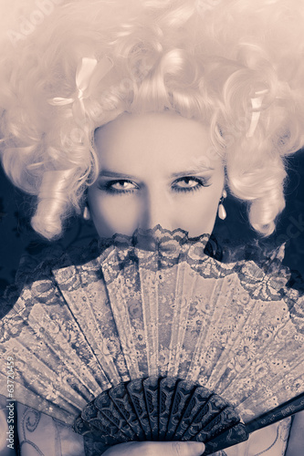 Beautiful Baroque Woman Monochrome Portrait with Wig and Fan