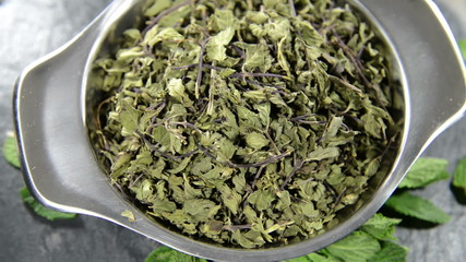 Portion of dried Mint as loopable video file