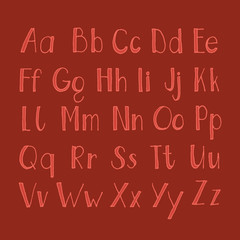 Hand drawn Alphabet A to Z in red color