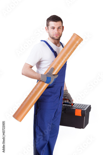 Man with toolbox and gutter