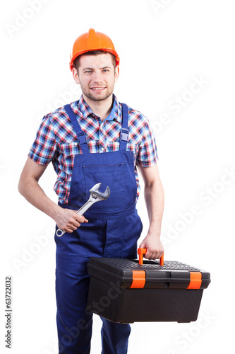 Repairman with toolbox and wrench