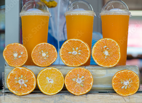 orange juice at local market Thailand