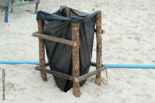 garbage bag at Khai Island, Phang Nga, Thailand