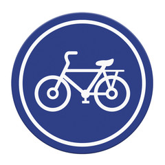 Bicycle lane sign on white background