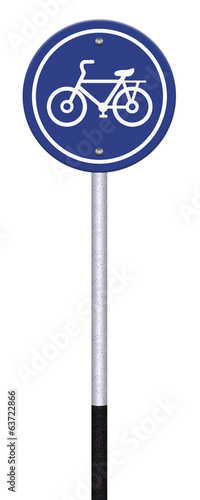 Bicycle lane sign on white background