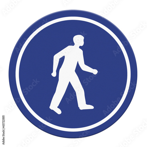 Pedestrian walking lane walkway footpath road sign on pole