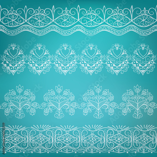 set of ethnic folk border