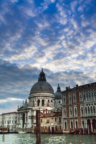 views of Venice and Santa Maria della Salute Church Italy Europe