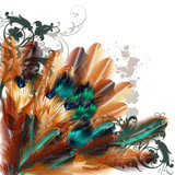 Beautiful vector background with colorful ferns - 63723841