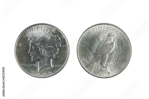 Peace Silver Dollars on White