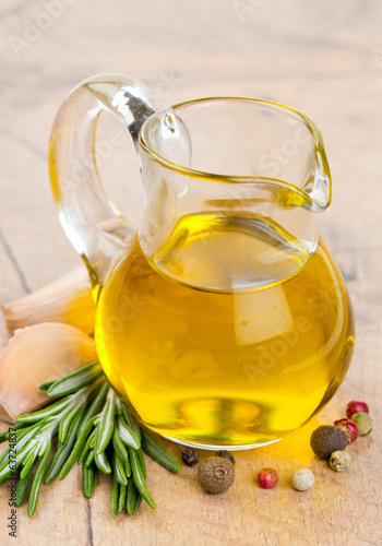 olive oil in  a glass pitcher