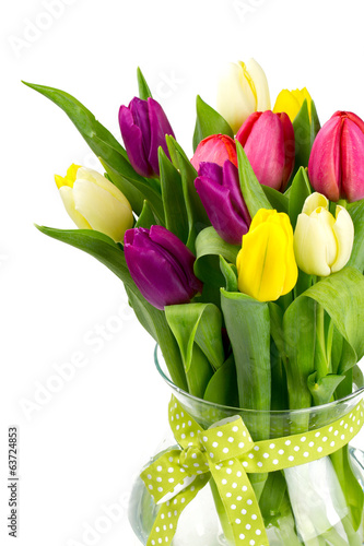 vase with tulips isolated on white