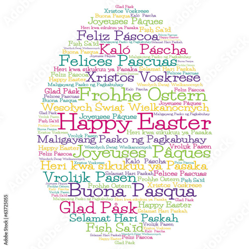 "Easter egg made from ""Happy Easter"" in 12 different languages"