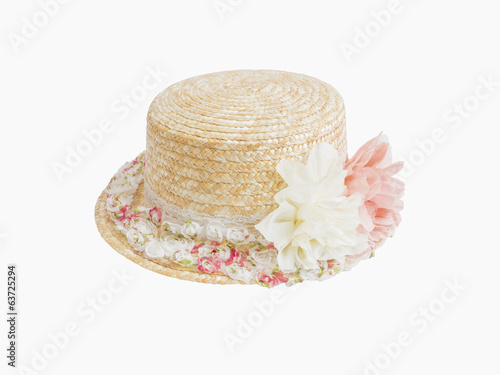 straw hat with artificial flower