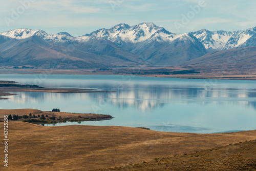 Southern Alps reflecting in Lake Tekapo