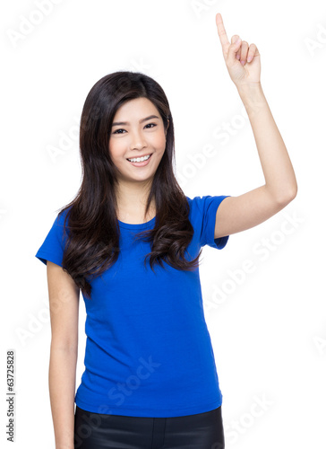 Asian woman finger pointing up