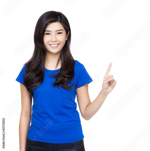 Asia woman finger pointing up