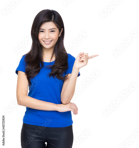 Asia woman finger pointing to show something