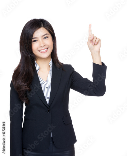 Asia businesswoman finger pointing up