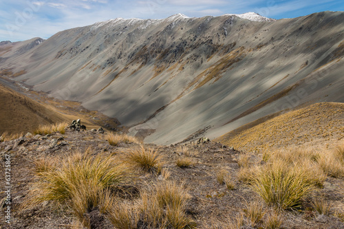 moraine valley in Southern Alps, New Zealand