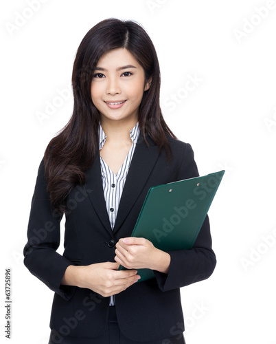 Asia businesswoman with clipboard