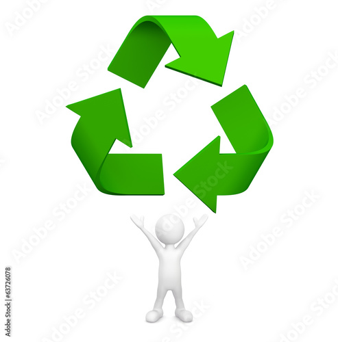 3D man with Recycle symbol