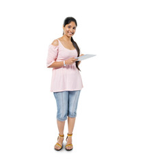 Cheerful Casual Indian Woman Holding Digital Tablet