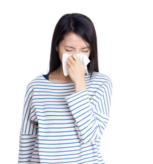 Asia woman sneeze