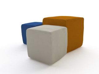 Three Soft Leather Stools in 3D