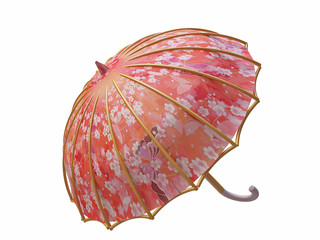 Vintage Umbrella with Floral Ornament in 3D