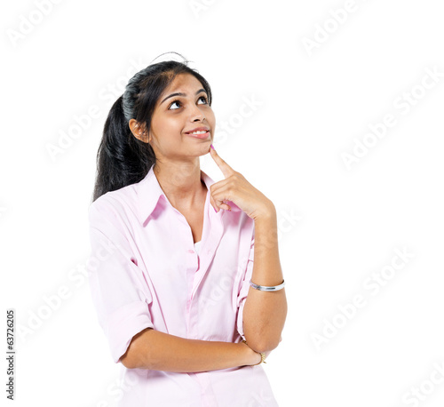 Confident Young Woman Standing and Contemplating