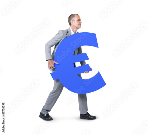 Businessman Holding Euro Currency Symbol
