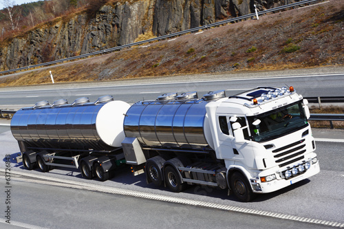 large fuel truck on highway, close -ups