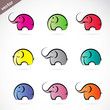 Vector group of colorful elephant
