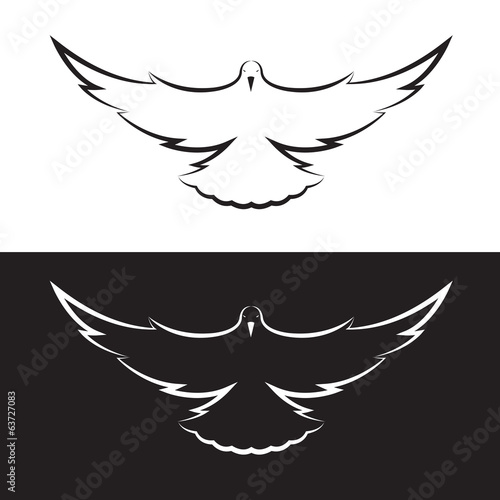 Vector images of pigeon are flapping