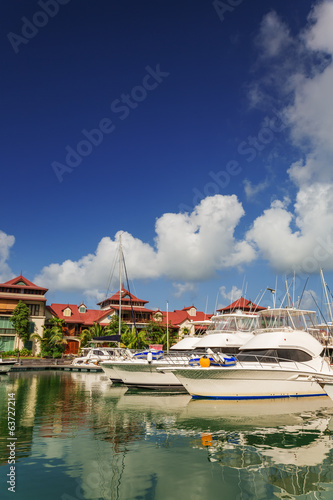 Boats and residential aria at Eden Island, Seychelles