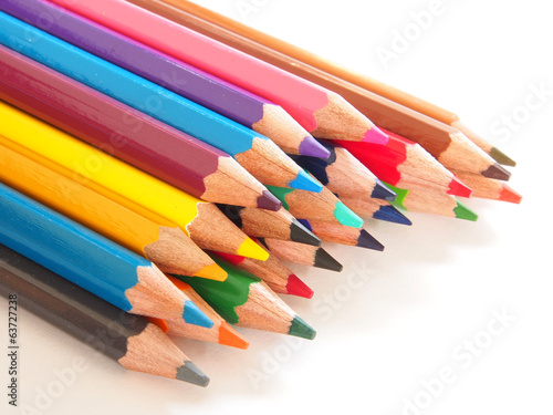 Group of colorful crayons closeup