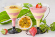 Passion fruit and strawberry mousse