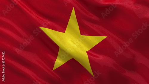 Flag of Vietnam waving in the wind - seamless loop