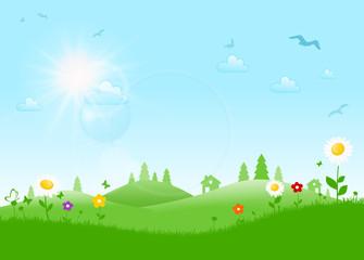 Landschaft Blumen Wald