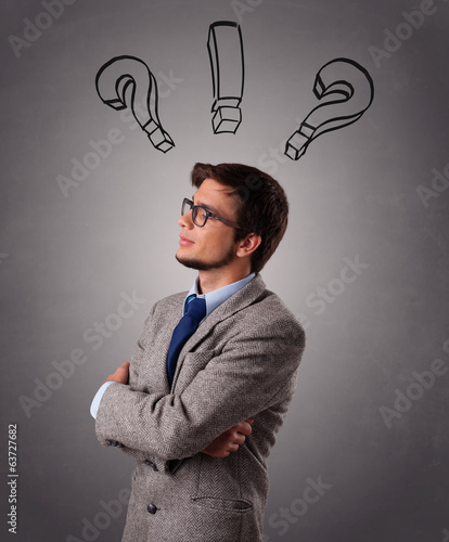 Young man thinking with question marks overhead