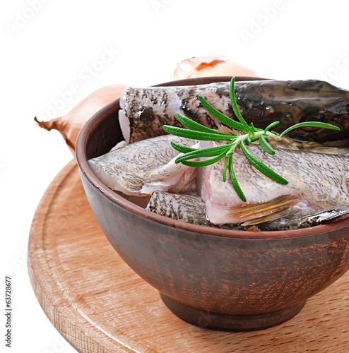 Piece of fresh raw fish in bowl