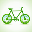 Go green concept - Eco cityscape in bicycle