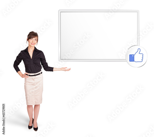 young woman presenting modern copy space
