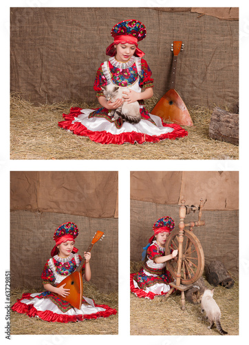 Russian girl in national dress, collection